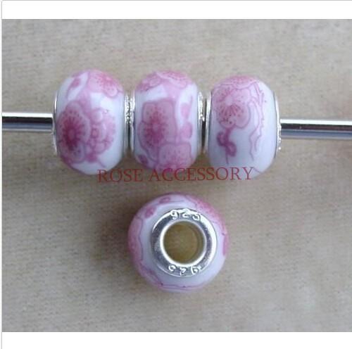 Здесь можно купить  Wholesale 500pcs Vintage Rose Flower Decals European Style Porcelain Rondelle Beads Big Hole Fits Charm Bracelets  Ювелирные изделия и часы