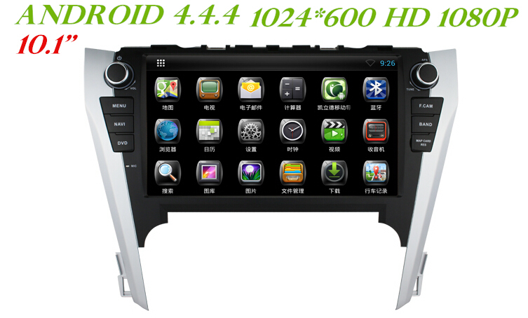 """10.1"""" Android 4.44 Car Dvd Gps NAVI RADIO for TOYOTA CAMRY 2012 2013 2014 +3G WiFI DVR OBD 1024*600 HD 1080p dual core(China (Mainland))"""