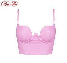 2015 Sexy Bustier Crop Top Tank Faux Leather Camisole Straps Tight Bandage Cropped Tops Vest Tanks Camis For Women's Tanks(China (Mainland))