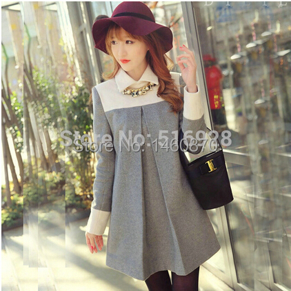 Fashion Cute Maternity Clothing Dresses For Pregnant Women Clothes Woolen One-piece Dress Autumn Winter(China (Mainland))