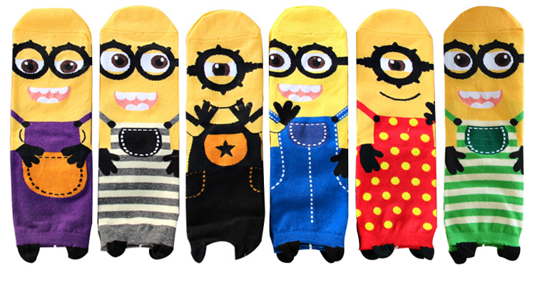 2015 New women Minion Socks cute cartoon sox summer South Korean style Fashion Cotton Printing Tube Socks floor meias Socks(China (Mainland))