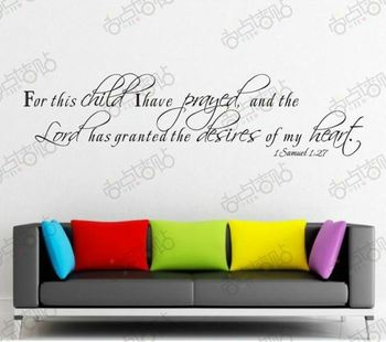 For This Child I Have Prayed Removable Vinyl Wall Art Words Stickers DIY 3D House Decoration Decals Quote Family Home Children