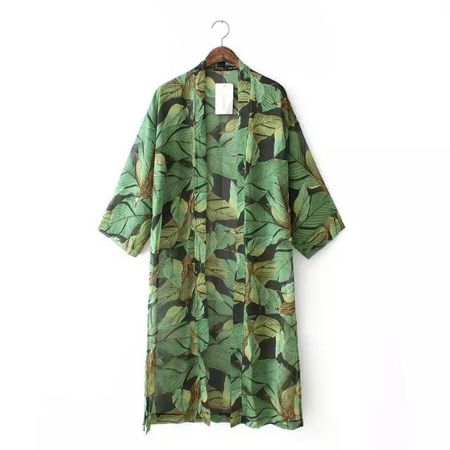 Spring, summer, new products Europe leaf pattern chiffon beach cardigan short-sleeve long cape blouse tops(China (Mainland))