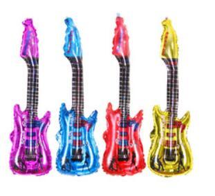 20pcs colorful guitar design cartoon balloon inflatable helium balloons cheer stick clapper(China (Mainland))