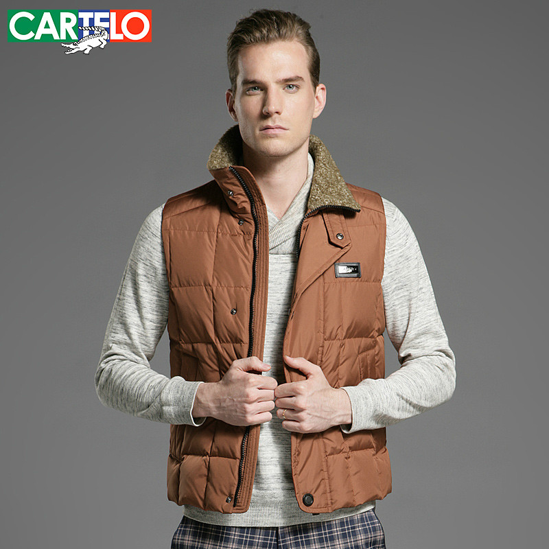 CARTELO/Brand Slim 90% Duck S-XXXL Men's Casual Down Vest Autumn Or Winter Collar Male Vest Warm Thick Coat For Men(China (Mainland))
