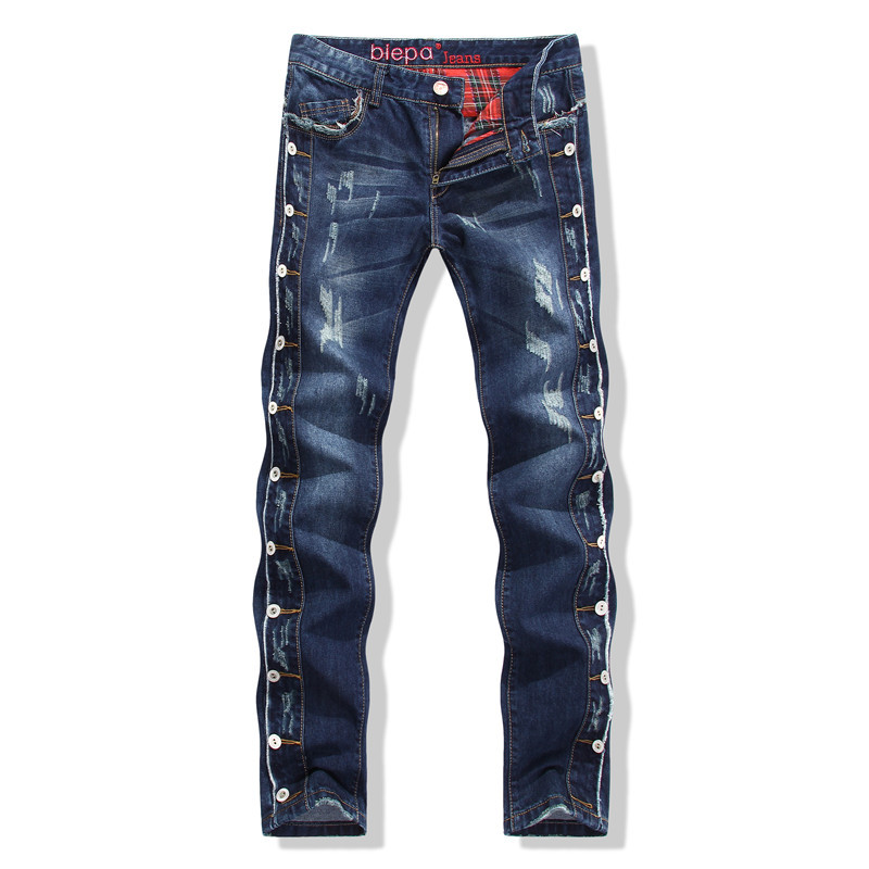 Фотография Spot supply new washing cat straight frayed Klein Jeans Abercrombie Mens ripped jeans