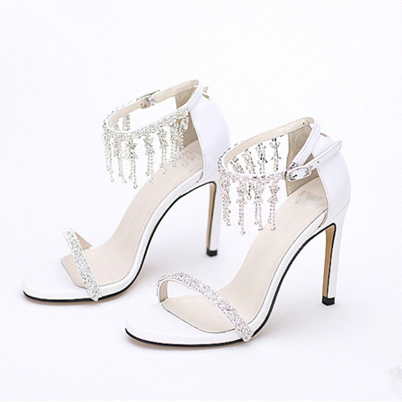 New fashion wedding shoes handmade rhinestone ankle Strap fashion white sandals open toe dress sandals sexy prom party high heel<br><br>Aliexpress