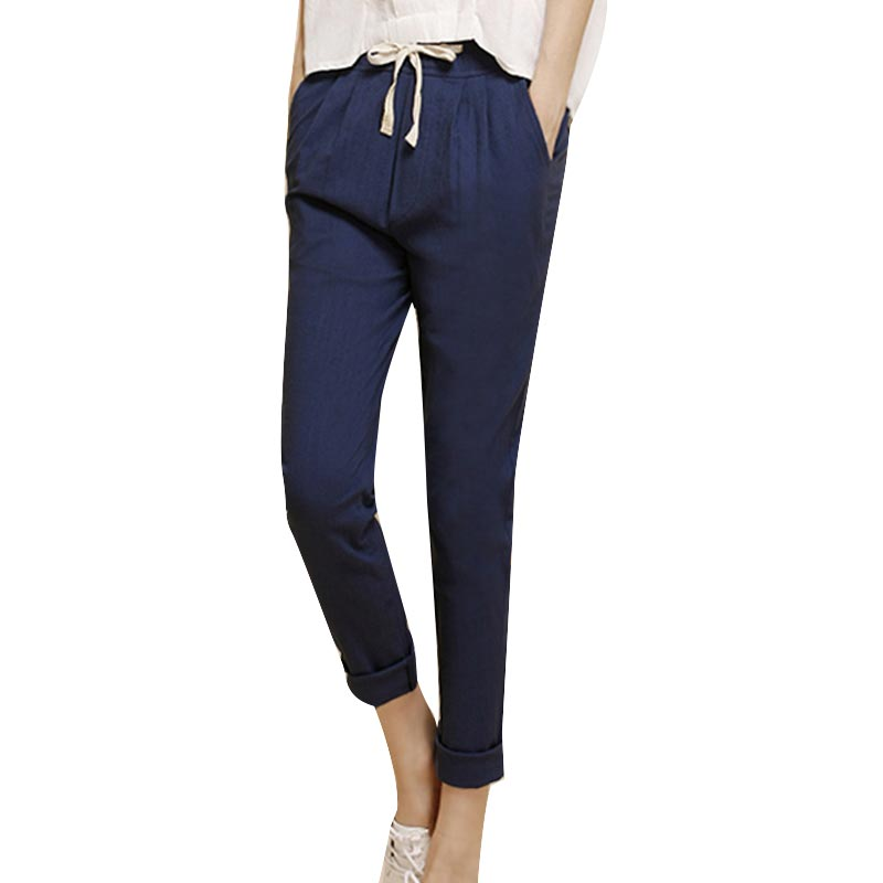 New Pants Cotton Casual Elastic Waist Was Thin Pencil Women Pantsin Pants