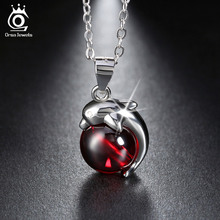 ORSA JEWELS 925 Sterling Silver Red Agate Dolphin Pendant Necklaces for Women Genuine Silver Jewelry Gift SN02(China (Mainland))