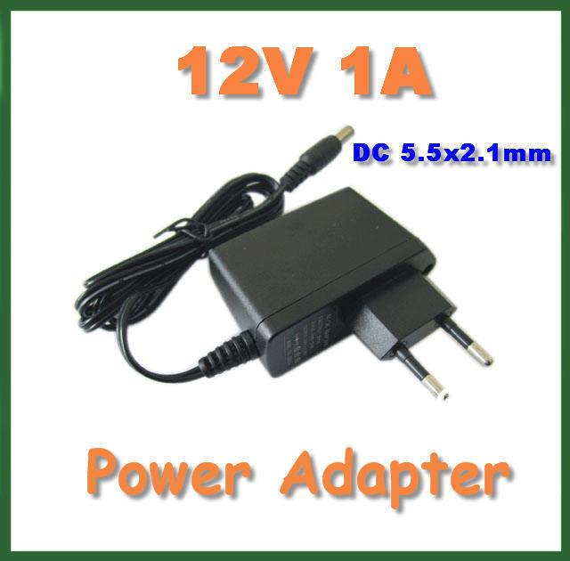2pcs Wall Charger Adapter AC 100V-240V to DC 12V 1A 5.5x2.1mm / 5.5*2.1mm Power Supply Adapter EU US plug(China (Mainland))