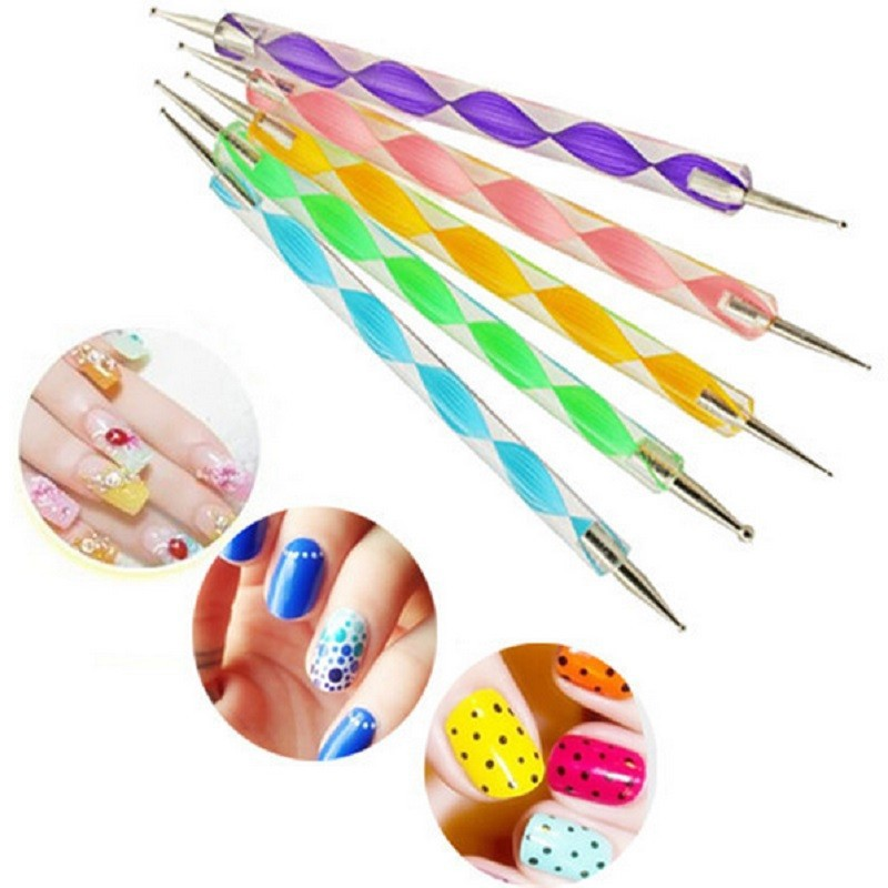 5Pcs 2Way Marbleizing Dotting Manicure Tools Painting Pen DIY Nail Art Paint Nail Art Dot Dotting Tool Nail Care Nail Tool