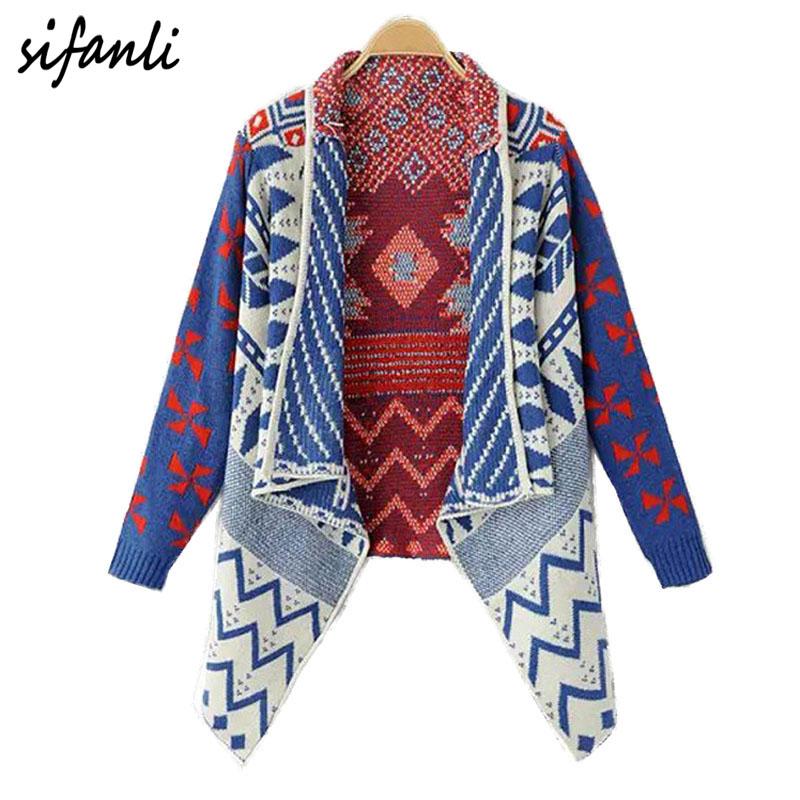 autumn women cardigan sweaters hit color Women's fashion brand retro geometric diamond irregular loose Knitted poncho Sweater(China (Mainland))