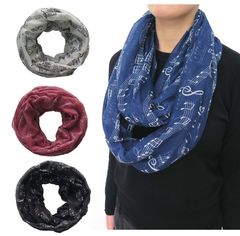 Music Notes Scale Treble Clef Print Infinity Scarf Cowl Circle Loop Ladies Gift for Art Lovers, Free Shipping(China (Mainland))