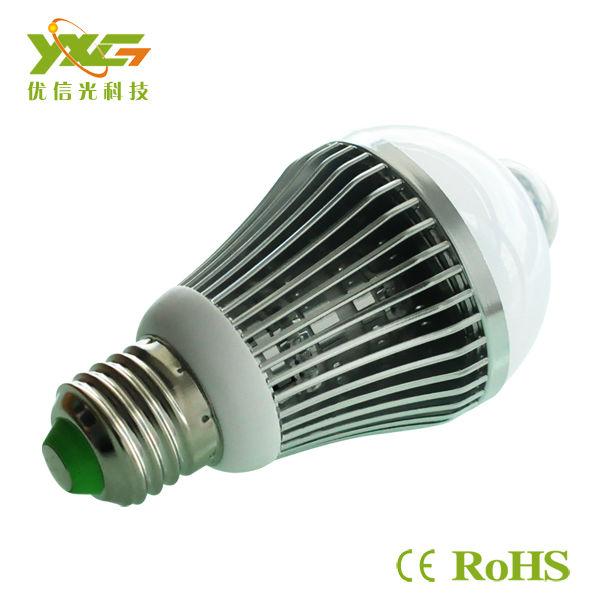 Big Discount!! 5W 450LM 110v 220v E27 LED Human Infrared Motion Sensor Light Bulb Lamp Warm White Aluminum Free Shipping(China (Mainland))