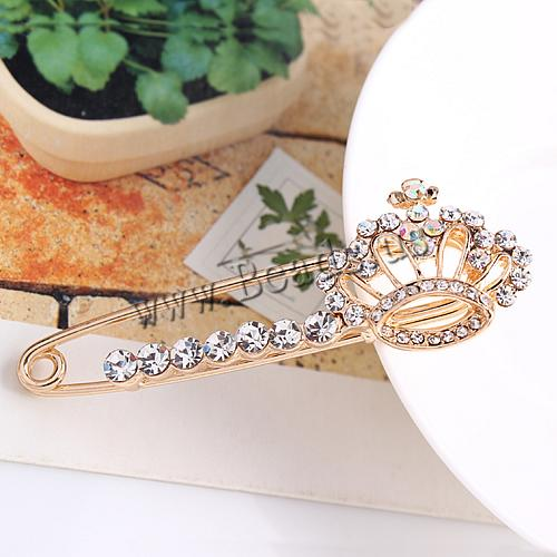 Free shipping!!!Rhinestone Brooch,for Jewelry, Zinc Alloy, Crown, rose gold color plated, with rhinestone, nickel<br><br>Aliexpress