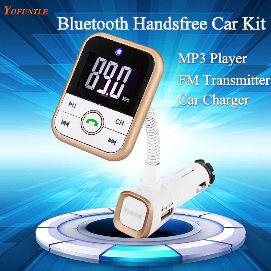 Bluetooth Car Kit MP3 Player Handsfree Wireless FM Transmitter Radio Adapter With LCD Remote Control for SmartPhone YFT002-2(China (Mainland))