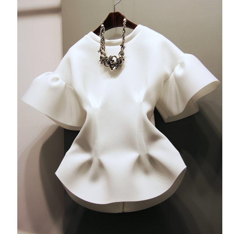 2016 Hot selling Women's Quality top Blouses Office Lady Casual Spring white Shirts School Girls Ruffles Korean Design M L #h670(China (Mainland))