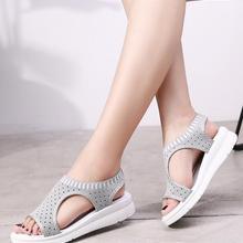Большие размеры 35-44, женские сандалии, женская обувь, женские летние удобные сандалии на танкетке, женские сандалии без шнуровки на плоской ...(China)
