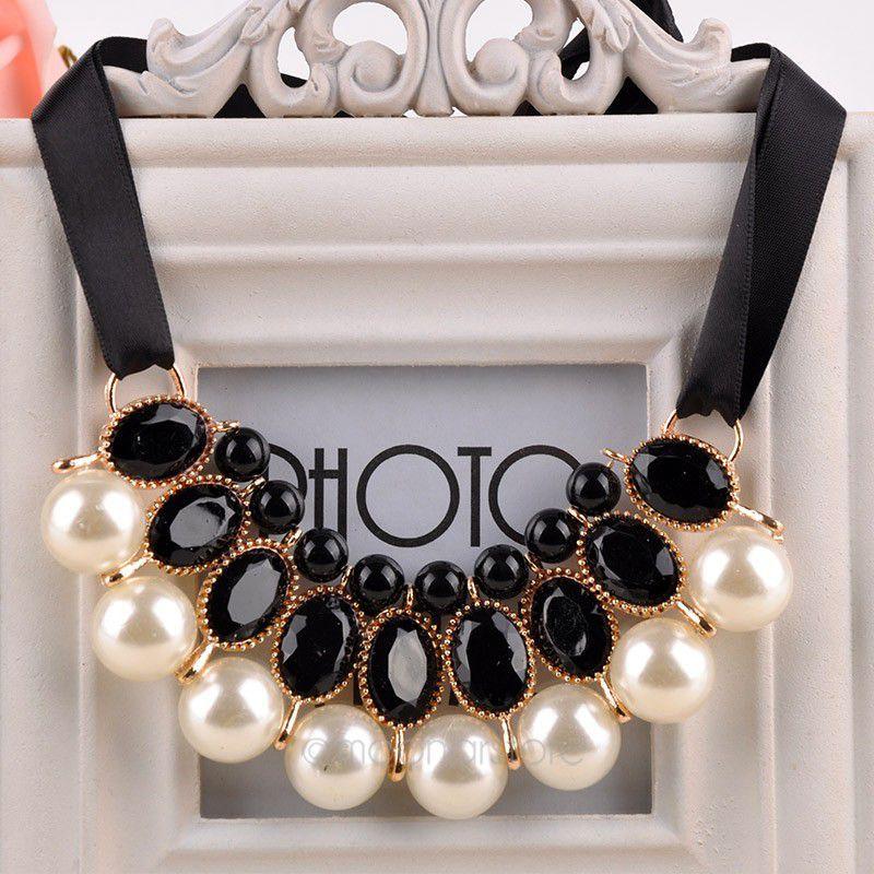 Pearl Choker Collar Vintage 2015 New Ribbon Bead Rhinestone Chain Statement Necklaces Pendants Women Jewelry Gifts(China (Mainland))