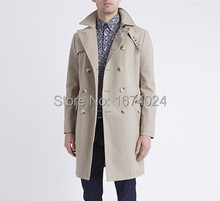 British Vintage Double Breasted Twill Trench Coat Fashion Men's Classic Skinny Fit Belted Trench Coat(China (Mainland))