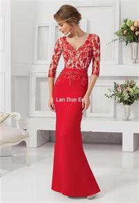2015-Limited-Chiffon-Vestido-Longo-Hot-Sales-V-neck-Half-Sleeves-Mermaid-Evening-Dresses-With-Applique