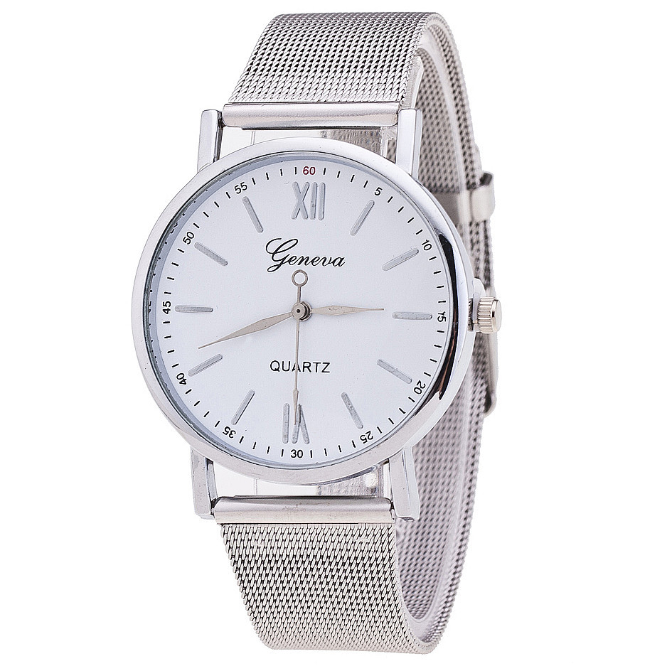 Buy new style geneva watch silver band women wristwatch quartz watches casual for Watches geneva