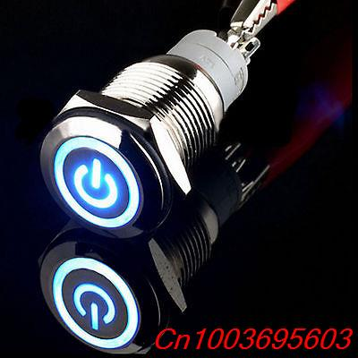 5pcs Momentary 16mm 12V 3A Blue power/angel Circle LED Metal Push Button Switch<br><br>Aliexpress