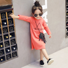 Spring Autumn Baby Girls Clothes Girls Dress Long-sleeve Straight Dresses Child Cotton Casual Loose Sweatshirts Tops Vestidos