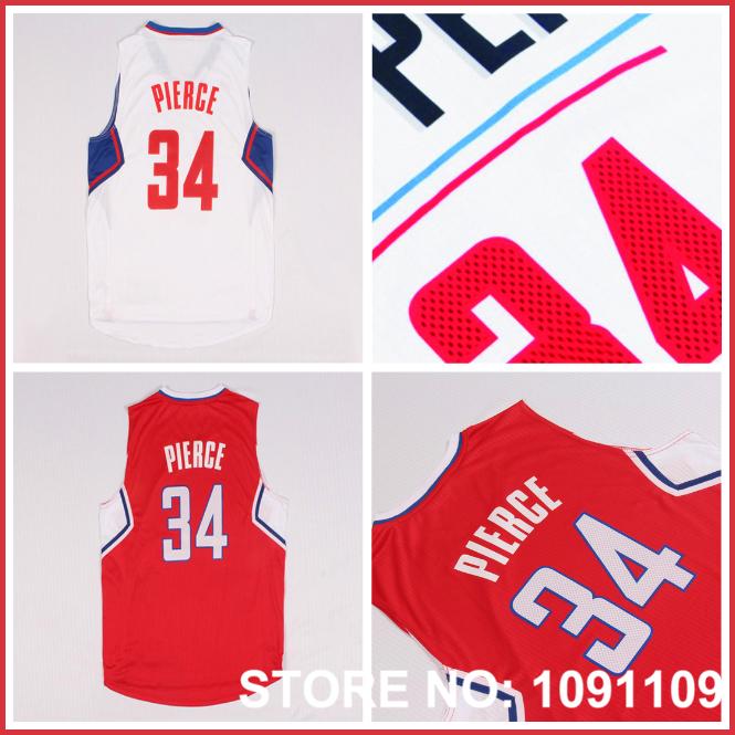 Mens Los Angeles #34 Paul Pierce Jersey Red and White 2015-16 New Season Paul Pierce Basketball Jerseys, Free Shipping(China (Mainland))