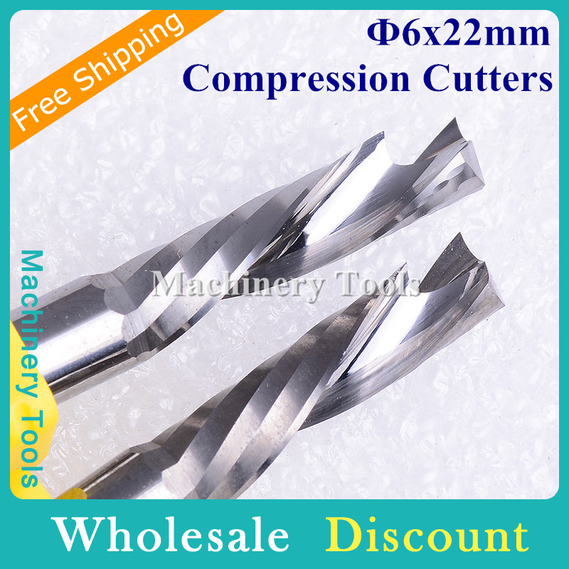 1pc 6x22mm Up/Down Cutting Single Flute Tungsten Carbide Wood Cutters CNC Milling, Woodworking Milling Router Bits - Machinery Tools store