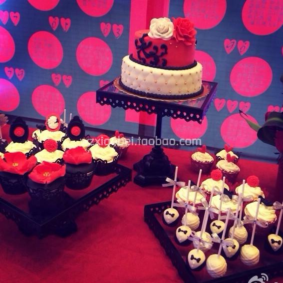 crystal glass iron black cake cake pan dessert table wedding supplies
