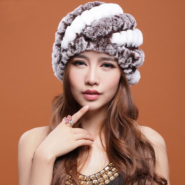 Цена продажи рекс кролика шляпы мех полосатый вязаная шапка для женщин натурального ...