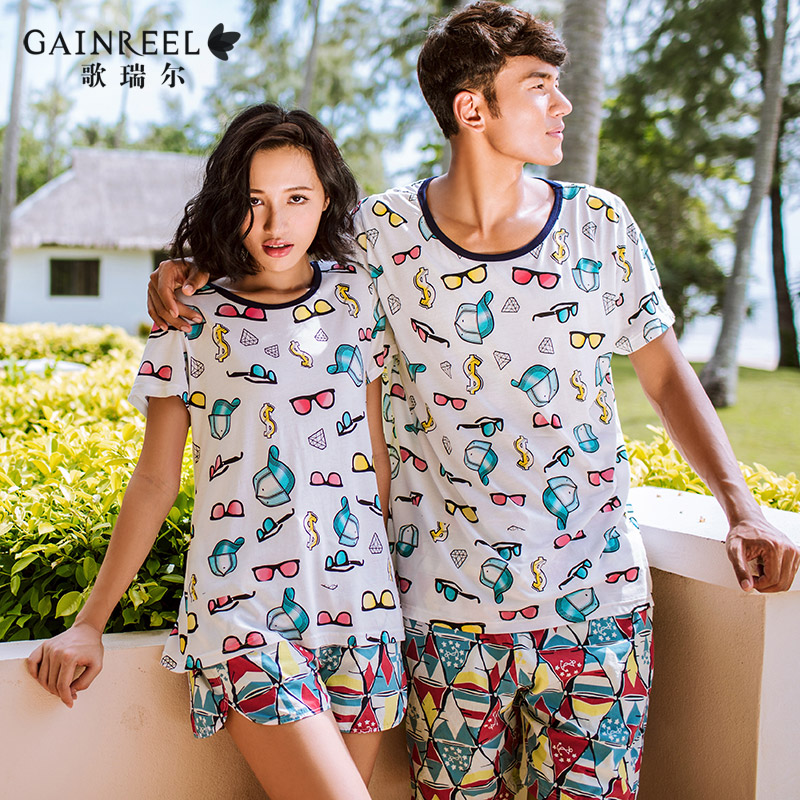 Song Riel outer wear short sleeved summer new cute cartoon couple home service men and women