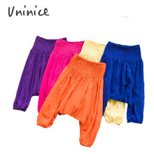 2016 fashion Boys&Girls candy color Harem Pants Kids Lien Cotton Overall Baby Casual  trousers soft loose hip hop pants for kids(China (Mainland))