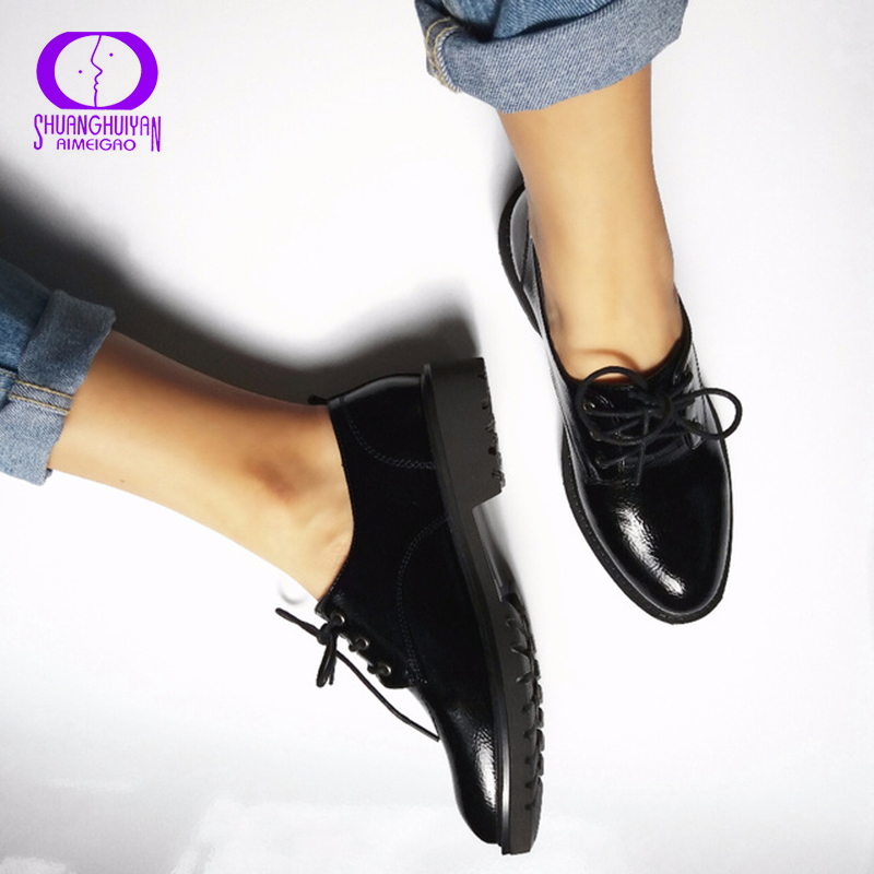 Flats British Style Oxford Shoes Women Spring Soft Leather Oxfords Flat Heel Casual Shoes Lace Up Womens Shoes Retro Brogues(China (Mainland))