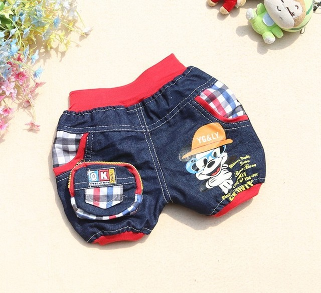 2013 New Spring Autumn Baby Boy Glasses Mickey Short kids Denim shorts Baby Clothing Wear 2 color 4 piece/lot