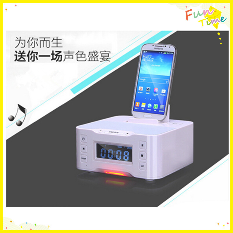 LCD dislpay dock bluetooth speaker with usb fm Alarm clock ,new dock station for iphone cellphone(China (Mainland))