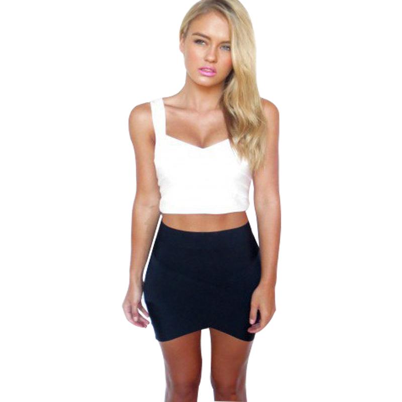 2016 Summer Spring Mini Skirt Candy Color Asymmetrical Hem Bandage Stretch High Waist Short Plain Step Skirts For Women(China (Mainland))
