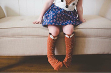 Retail girls/boys children's knee long socks baby kids cotton backless socks fox cartoon dot unisex socks 2colors hot sell(A21)(China (Mainland))