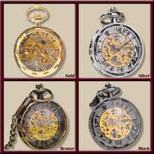 Gold Silver Bronze Black Fashion Men Vintage Hand Wind Pocket Watch Antique Cool Mechanical Pocket Watch With Necklace Chain(China (Mainland))