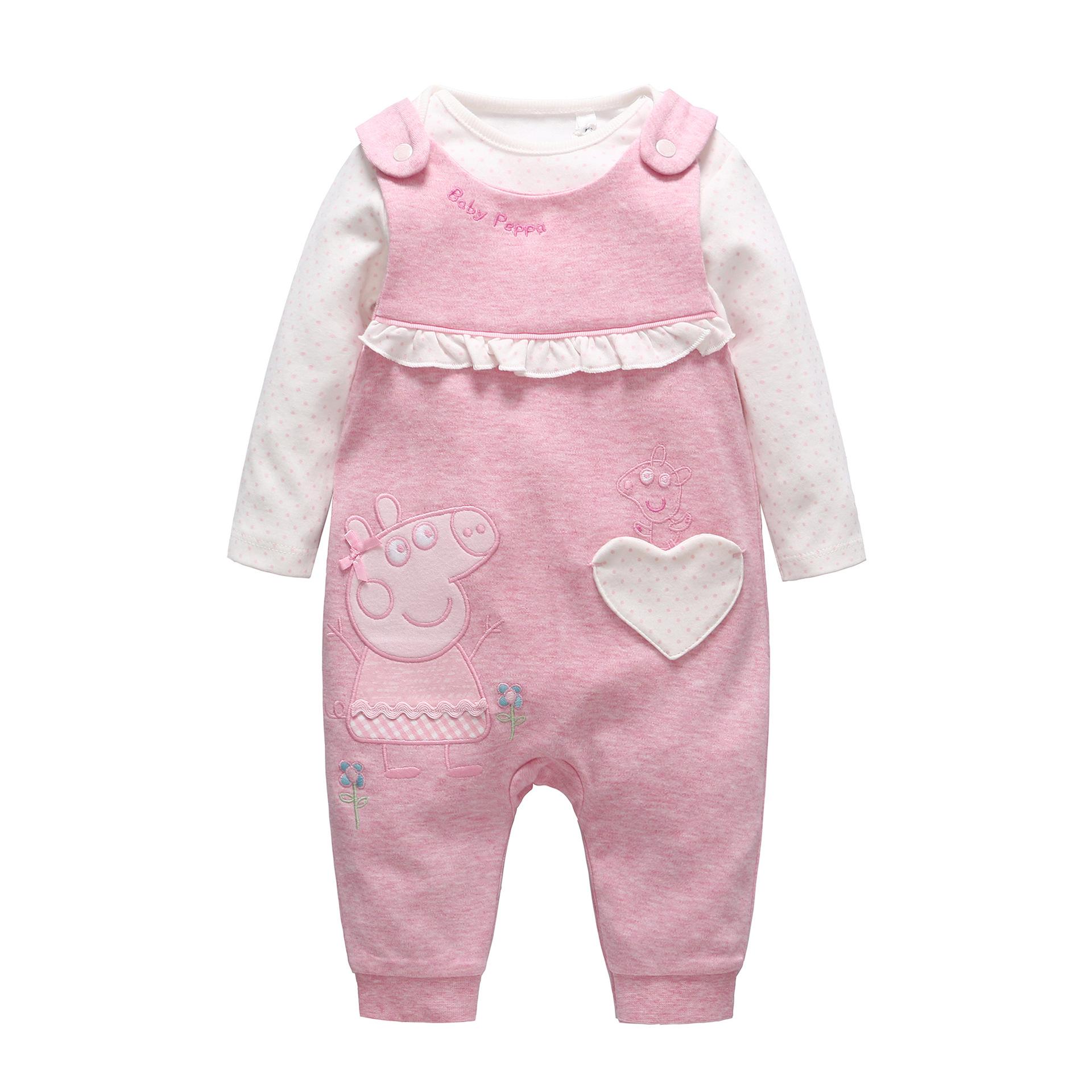 2016 Autumn Cartoon Pig Baby Set Baby Girl Cotton Dot Long-sleeve Romper+Love Pattern Pants 2pcs Set New Born Baby Girl Clothes(China (Mainland))