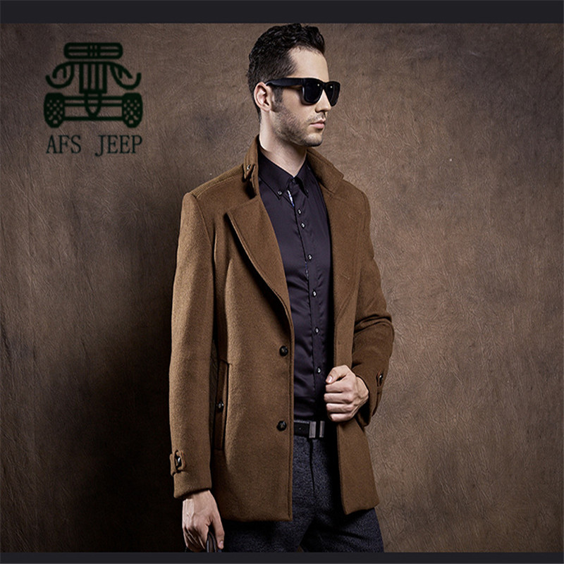 AFS JEEP Business Man Winter Thickness Wool Slim Coat,Double Button Original Brand Warmly Casual Wool Blends 4XL Plus SizeОдежда и ак�е��уары<br><br><br>Aliexpress