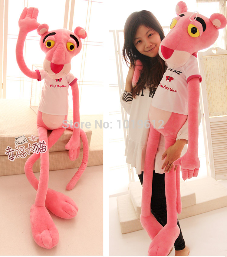 1pc 55cm NICI Hot Sale Wear Clothes Lovely Leopard Wave Of Pink Panther Plush Toys t-shirts Pink Pinkpanther Doll birthday gift(China (Mainland))