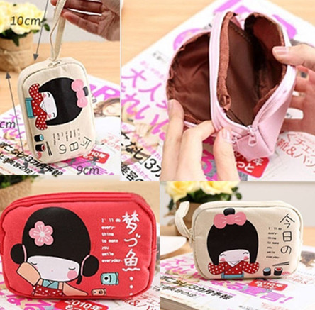 Гаджет  New Fashion 2015 kawaii Japanese Style 4Colors Zipper Print Canvas Women Girl Lady Small Coin Purse Money Bag Cheap None Камера и Сумки