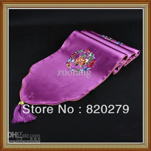 Embroidered Purple Satin Table Runners 90 inch Wedding Tablecloths For Coffee Tables Decorative Bed Runner size L230 x W35cm 1pc(China (Mainland))