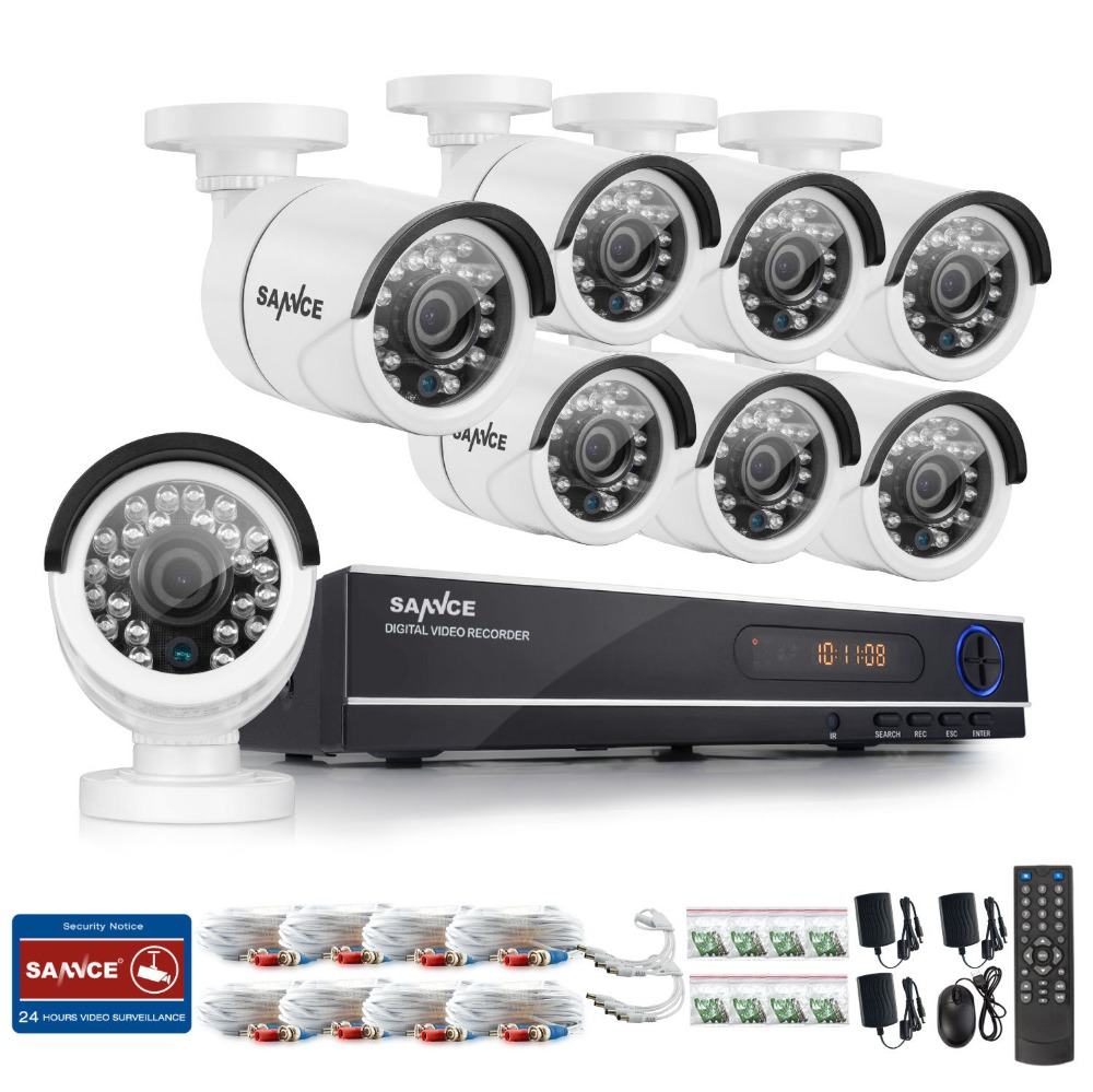SANNCE Home Security HD 1080N 1080P 8CH DVR 8PCS 720P High Resolution IR-CUT CCTV Camera System 8 Channel Video Surveillance Kit(China (Mainland))