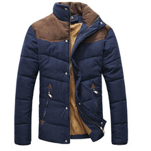 2015 Men's Colorant Match Brief Thermal Wadded Jacket Thickening Cotton-padded Jacket Winter Slim Jacket MF-5457(China (Mainland))
