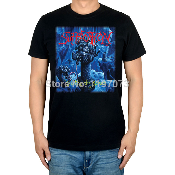 Suffocation Breeding the Spawn album cover men's black brutal death metal top T-Shirt(China (Mainland))