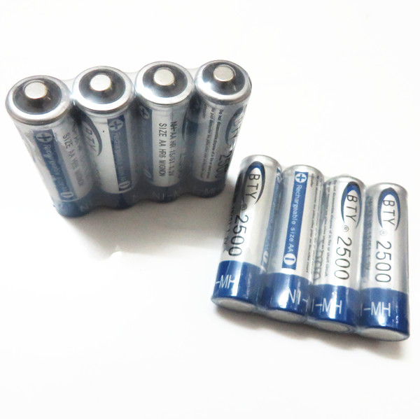 The controller battery aa 2500 mah 8pcs x bty ni-mh 1.2 v rechargeable battery 2a baterias bateria batterie(China (Mainland))