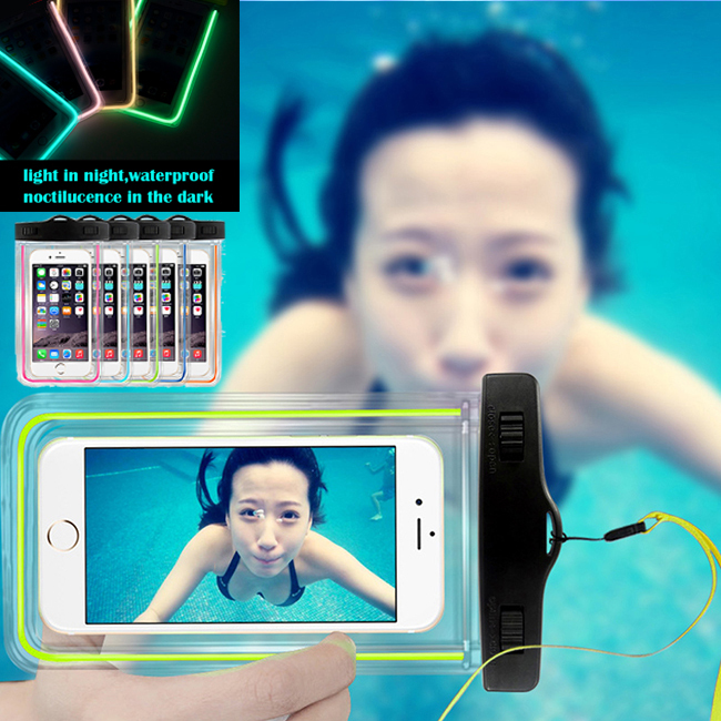 Universal Waterproof Phone Bag Case Pouch noctilucence transparent mobile bag for iPhone 6/6 Plus 5S 5C 5 4S S6/S5/S4 Note 4/3/2(China (Mainland))